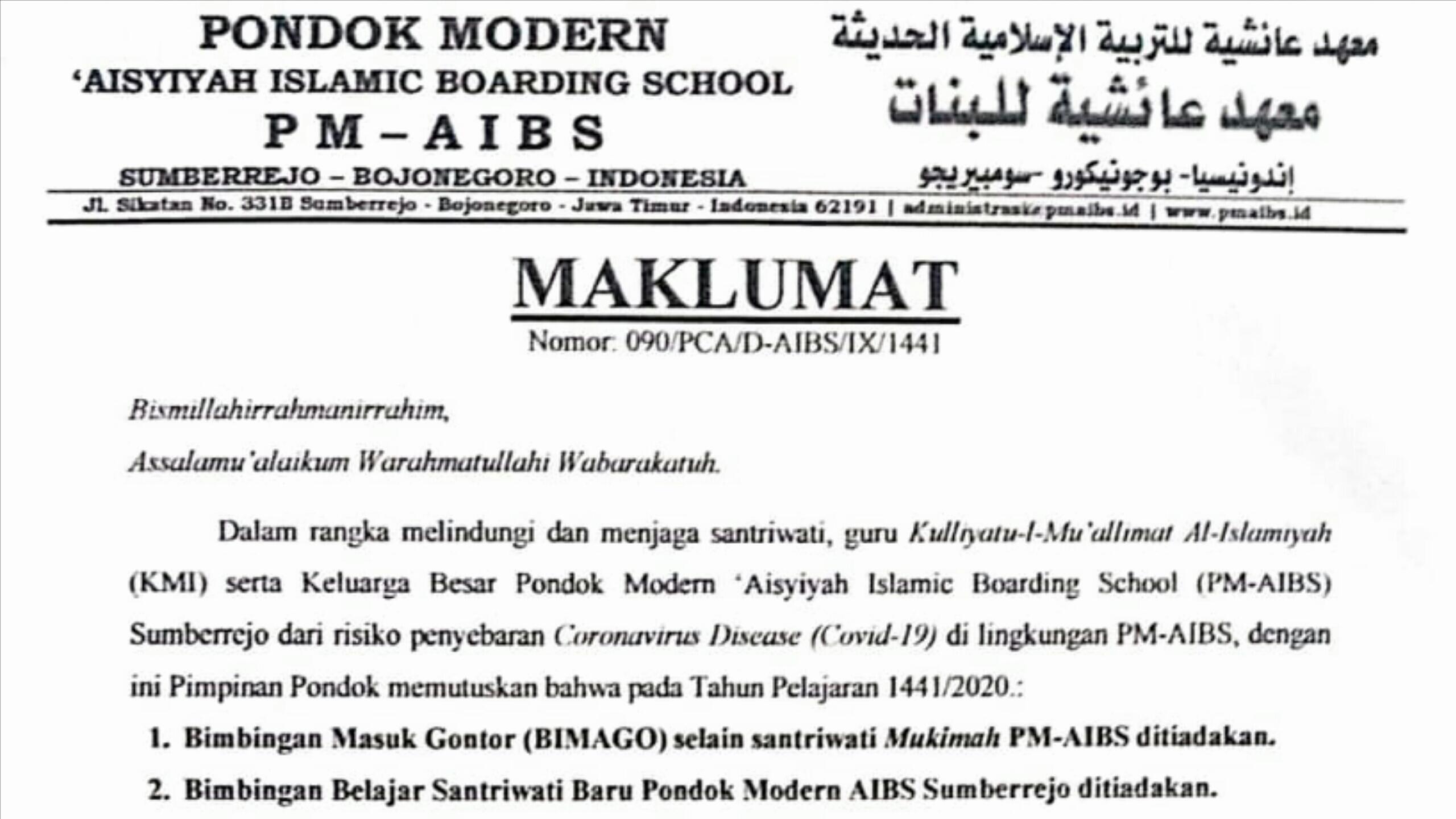 Maklumat Pimpinan Pondok Modern Aisyiyah Islamic Boarding School